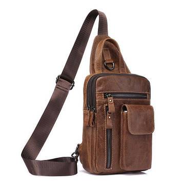 Мини-рюкзак кожаный на одно плечо, кофейный B10-8871 Joynee
