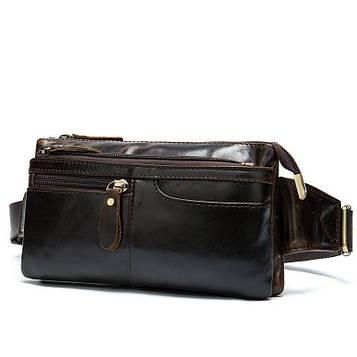 Напоясная кожаная сумка B10-8943 Coffee