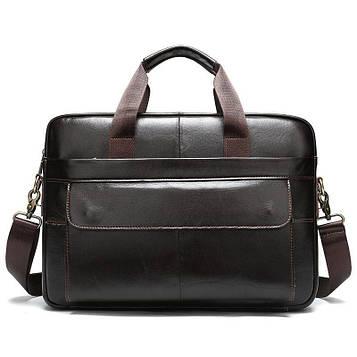Удобная кожаная повседневная сумка B10-1115 Coffee