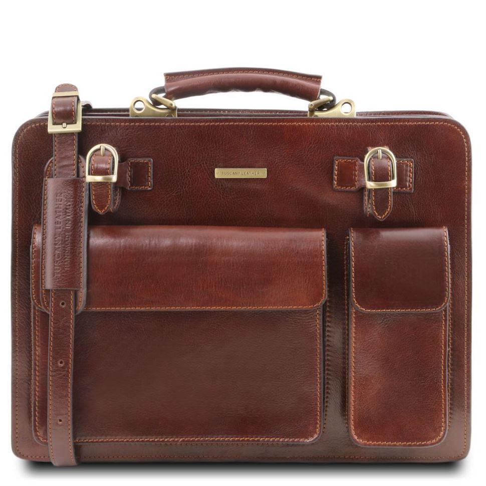 TL141268 Коричневый Venezia - Кожаный портфель на 2 отделения от Tuscany