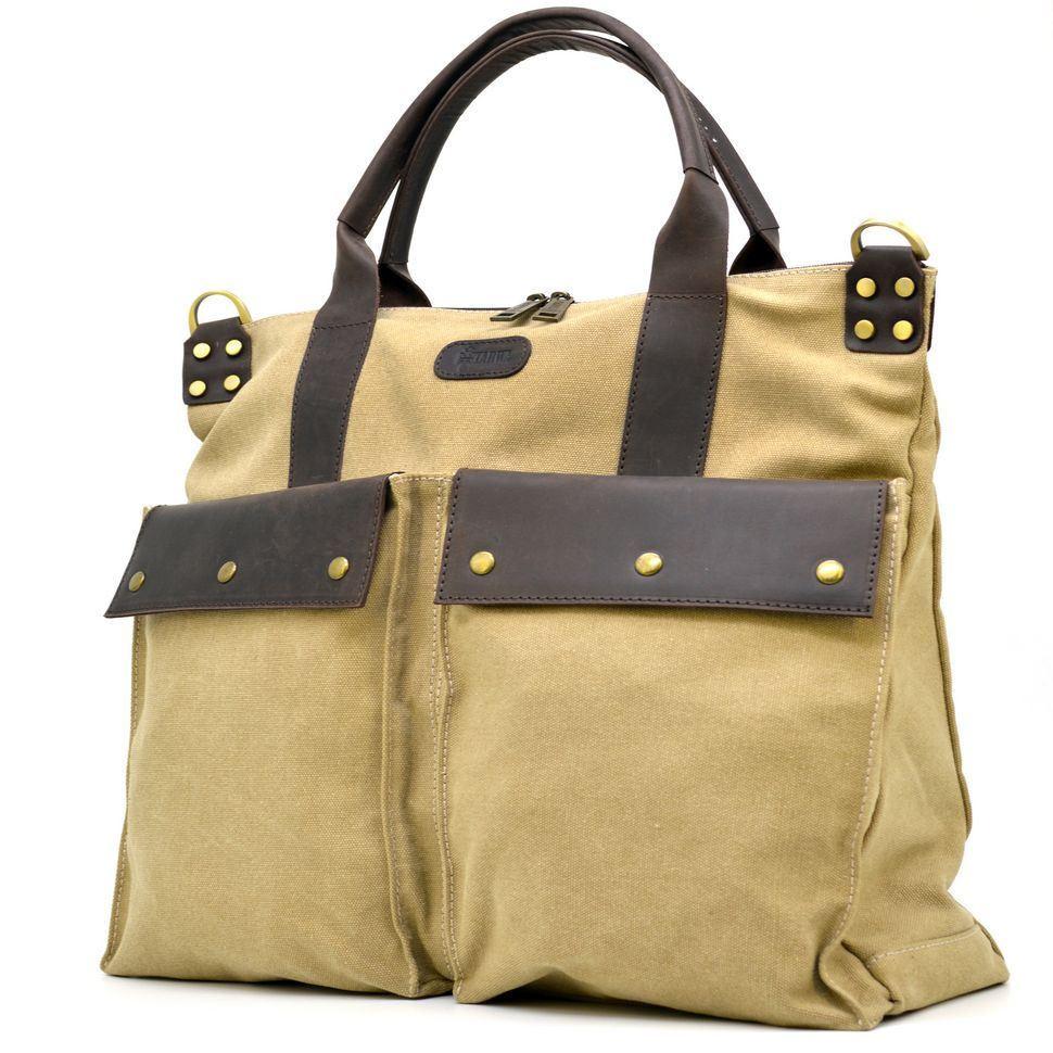 Універсальна сумка унісекс мікс тканини канвас і шкіри TARWA RC-1355-4lx