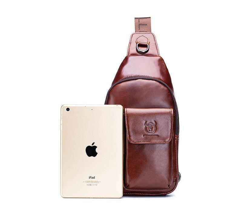 Міні-рюкзак шкіряний на одне плече T0121 BULL коричневий