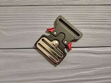Фастекс металлический 50 мм, типа Кобра, черный матовый с красными рычагами