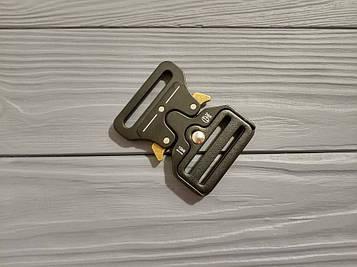 Фастекс металлический 45мм, типа Кобра, черный матовый с желтыми рычагами