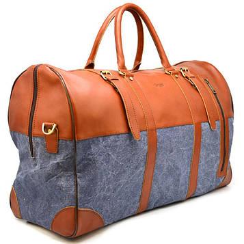 Большая дорожная сумка из кожи и текстиля Canvas GB-1633-4lx TARWA