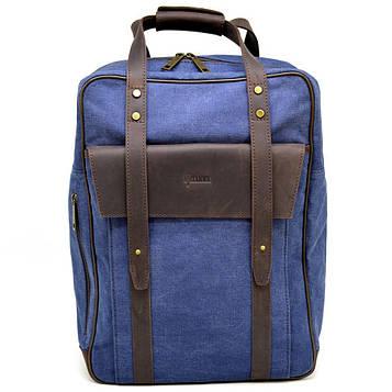 Джинсовый большой рюкзак в комбинации с кожей RK-3943-4lx TARWA