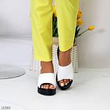 Шльопанці жіночі білі на платформі / танкетці 7,5 см натуральна шкіра, фото 9