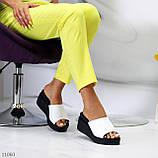Шльопанці жіночі білі на платформі / танкетці 7,5 см натуральна шкіра, фото 10