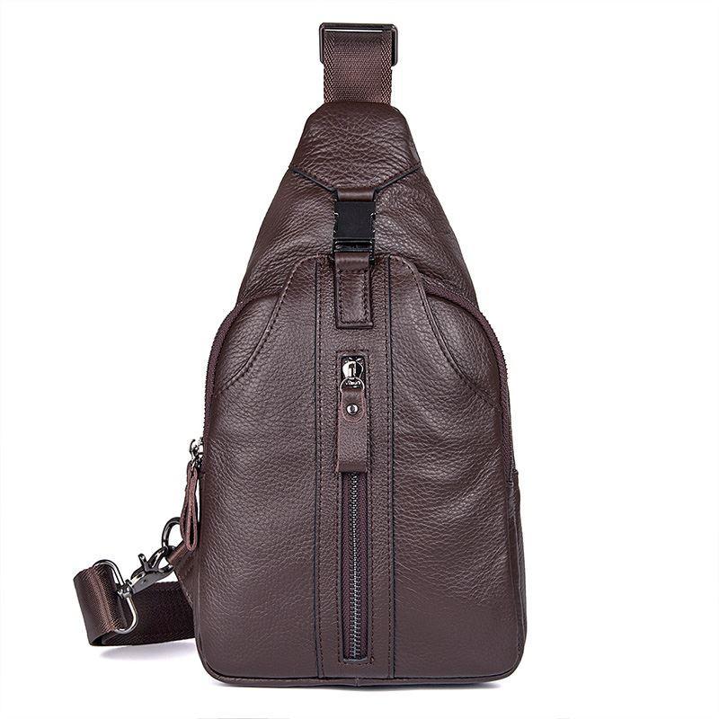 Мужской кожаный слинг рюкзак с одной шлейкой JD4007C John McDee