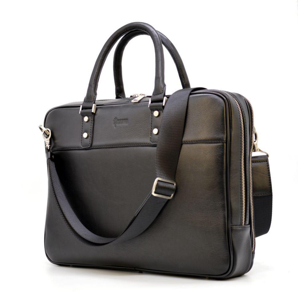 Тонкая мужская кожаная сумка-портфель на два отделения TARWA TA-4766-4lx