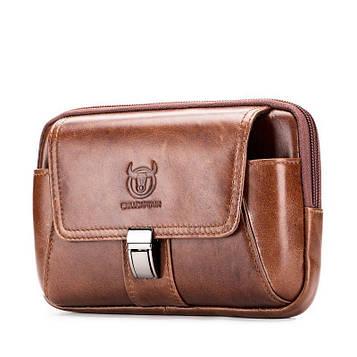 Напоясная сумка-чехол для смартфона YB043 Bull из натуральной кожи