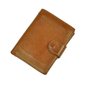 Мужской кожаный вертикальный кошелек bx128 c карманчиком для мелочи рыжий
