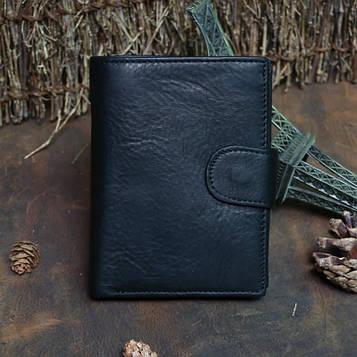 Чорний шкіряний вертикальний гаманець bx128 c кишенькою для дрібниці