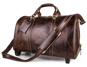 Дорожня шкіряна сумка на колесах John McDee 7077LQ