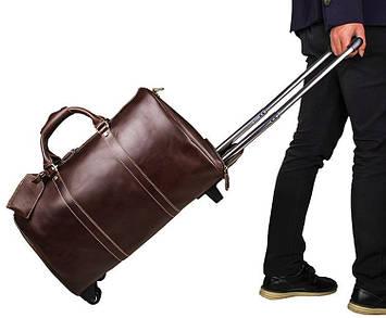 Дорожная кожаная сумка с колесиками John McDee 7077LC
