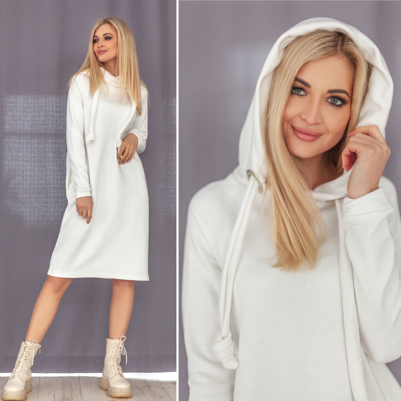 Трикотажное платье-худи молочного цвета
