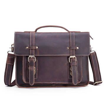 Брутальний шкіряний портфель, колір коричневий, Bexhill bx010
