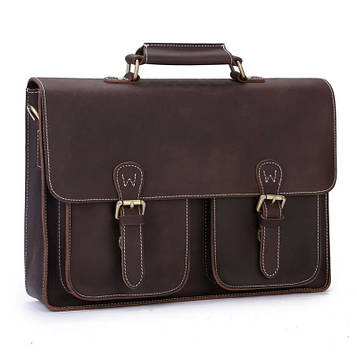 Стильний шкіряний портфель, колір коричневий,Bexhill bx6922