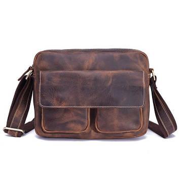 Якісна чоловіча сумка через плече, колір коричневий, Bexhill bx008