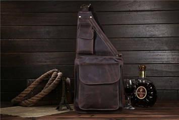 Фирменная кожаная сумка кросс-боди, рюкзак на одно плечо, цвет коричневый, Bexhill bx1089