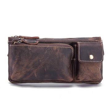 Кожаная сумка на пояс цвет коричневый Bexhill bx3616