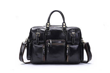 Стильна шкіряна сумка, колір чорний, Bexhill 7028A