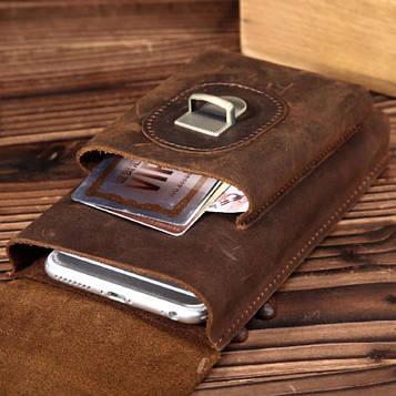 Напоясная кожаная сумка-чехол, цвет коричневый, Bexhill bx3977