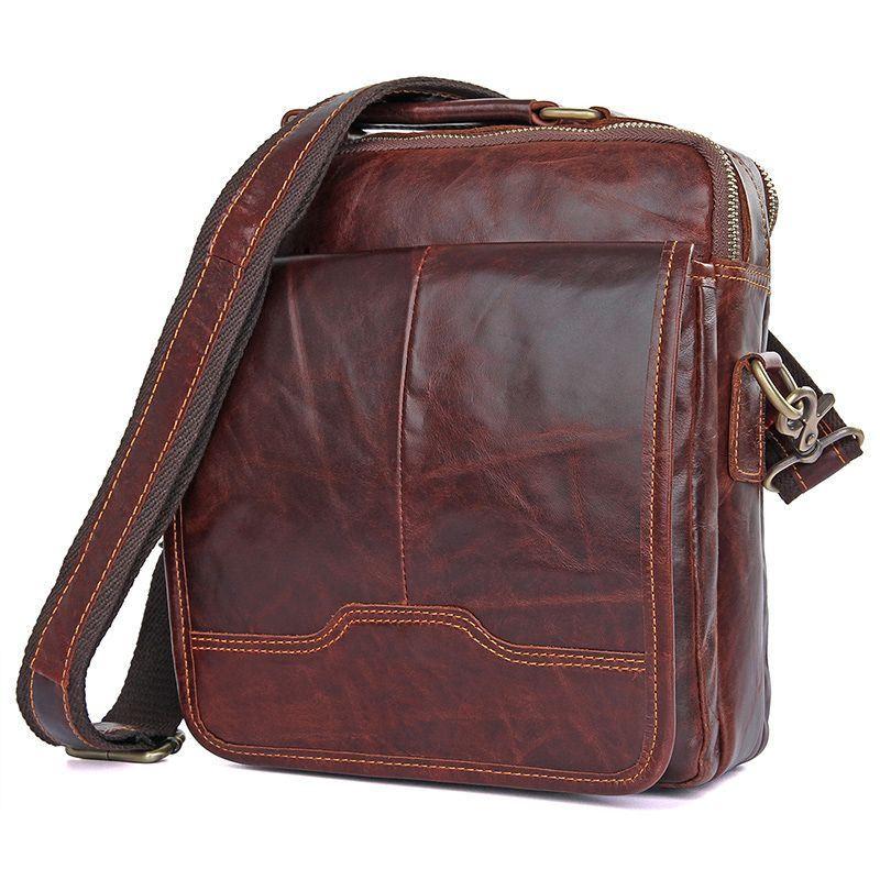 Стильная мужская сумка через плечо, коричневый цвет John McDee JD1018Q