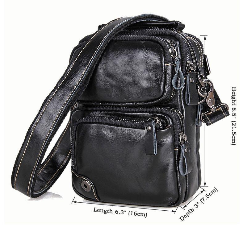 Мужская кожаная сумка на плечо, 1010А черная John McDee