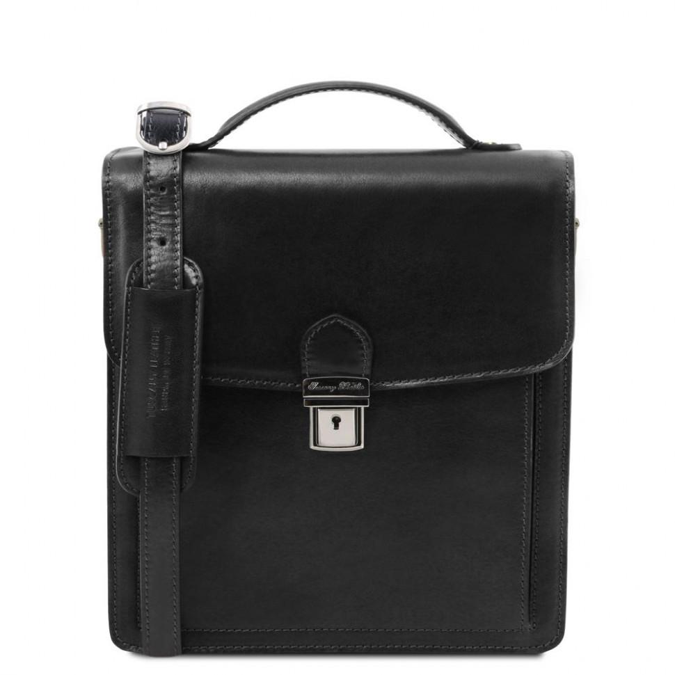 DAVID Мужская кожаная сумка через плечо малого размера, Tuscany TL141425 (Black – черный)
