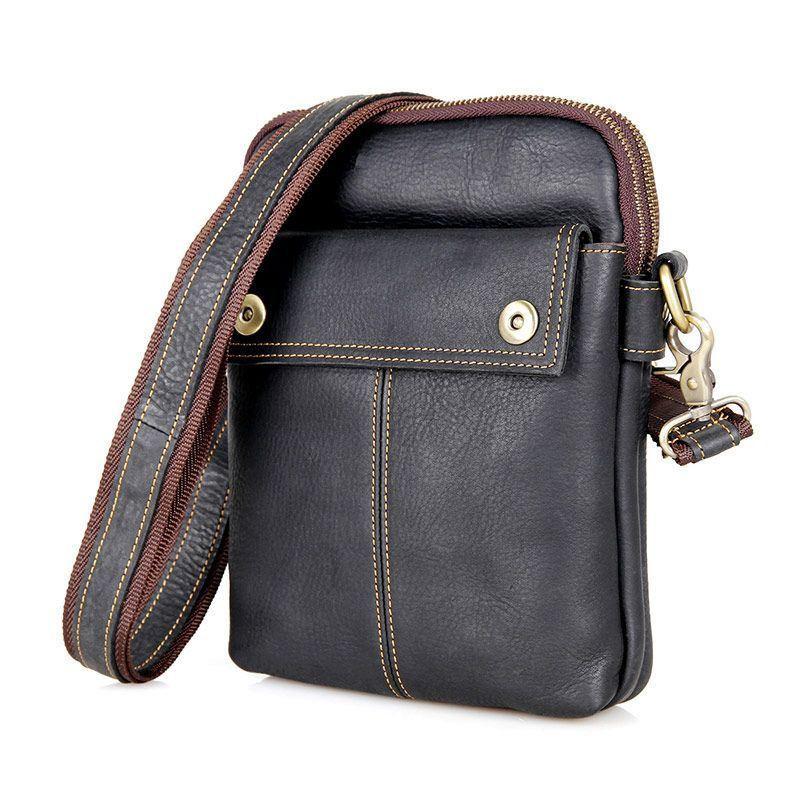 Чоловіча шкіряна сумка через плече, крос-боді бренд John McDee