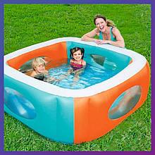 Дитячий квадратний надувний басейн Bestway 51132 (168х168х56 см) з віконцями