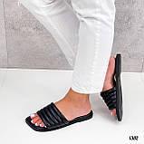 Шлепанцы женские черные квадратный носок эко кожа, фото 2