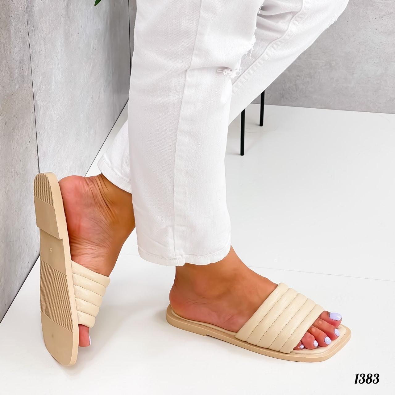 Шлепанцы женские бежевые  квадратный носок эко кожа