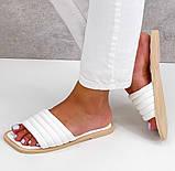 Шльопанці жіночі білі квадратний носок еко шкіра, фото 2