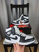 Кроссовки женские Nike Air Jordan 1 Retro Mid Black White черно-белые Кроссы Найк Аир Джордан 1 Ретро черные