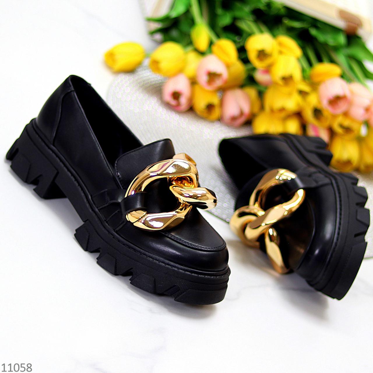 Эффектные модные черные туфли с декором на массивной подошве 38-24,5 39-25 см