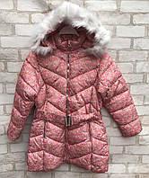 Пальто еврозима детское для девочки с цветочками от 4 до 8 лет, персикового цвета