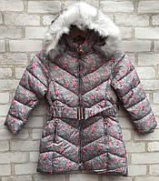 Пальто еврозима детское для девочки с цветочками от 4 до 8 лет, серого цвета