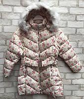 Пальто еврозима детское для девочки с цветочками от 4 до 8 лет, молочного цвета