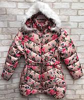Пальто еврозима подростковое для девочки «Цветы» от 7 до 11 лет, кремового цвета
