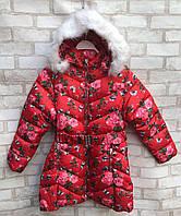 Пальто еврозима подростковое для девочки «Цветы» от 7 до 11 лет, красного цвета