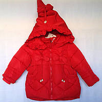 Детская куртка еврозима для девочки Бантики 2-5 лет, красного цвета