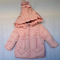 Детская куртка еврозима для девочки Бантики 2-5 лет, пудрового цвета