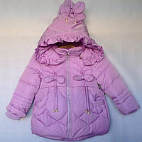 Детская куртка еврозима для девочки Бантики 2-5 лет, сиреневого цвета