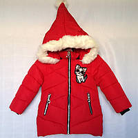 Детская куртка еврозима для девочки Кошка 2-5 лет, красного цвета