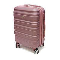 Зручна пластикова валіза Worldline, на 41 л 4-х колісна, розове золото, фото 1