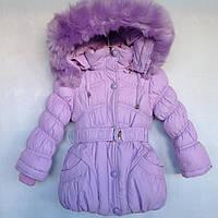 Детская куртка еврозима для девочки с мехом на капюшоне 2-6 лет, сиреневого цвета