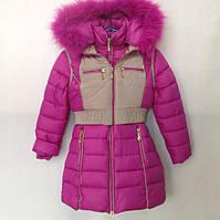 Подростковая куртка с жилеткой еврозима для девочки с мехом на капюшоне 8-12 лет, сиреневого цвета