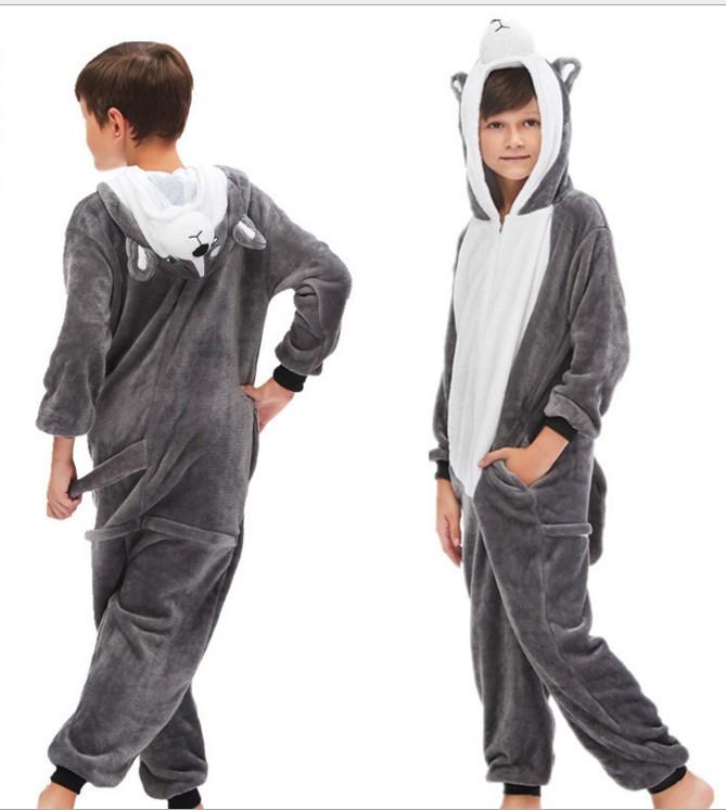 Дитячий кигуруми хаскі сірий піжама krd0158